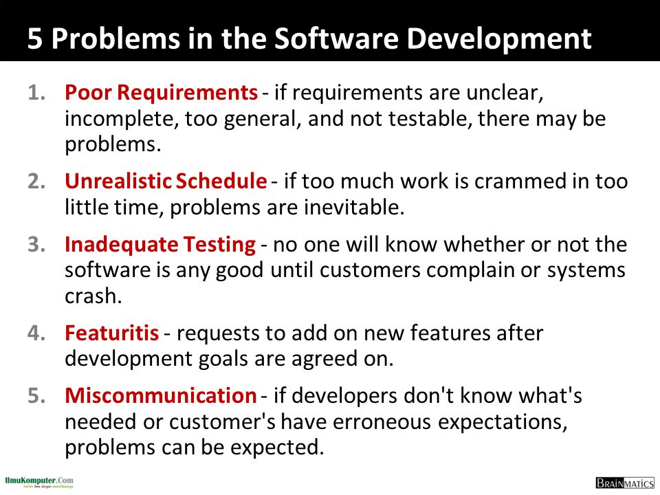 5 Problems in the Software Development