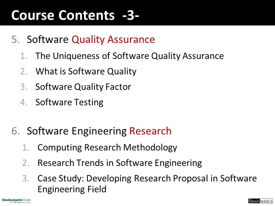 Course Contents -3- Software Quality Assurance