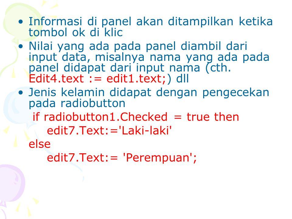 Informasi di panel akan ditampilkan ketika tombol ok di klic