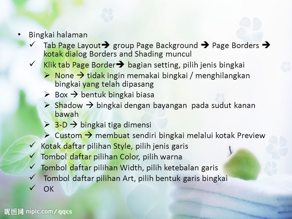 Bingkai halaman Tab Page Layout group Page Background  Page Borders  kotak dialog Borders and Shading muncul.