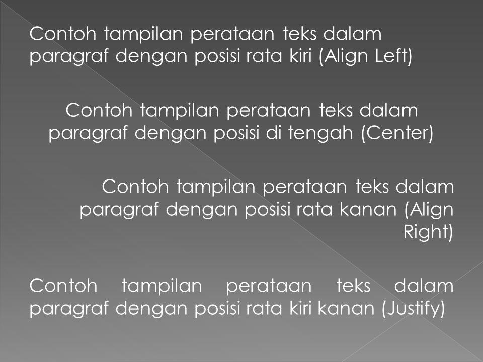 Contoh tampilan perataan teks dalam paragraf dengan posisi rata kiri (Align Left) Contoh tampilan perataan teks dalam paragraf dengan posisi di tengah (Center) Contoh tampilan perataan teks dalam paragraf dengan posisi rata kanan (Align Right) Contoh tampilan perataan teks dalam paragraf dengan posisi rata kiri kanan (Justify)