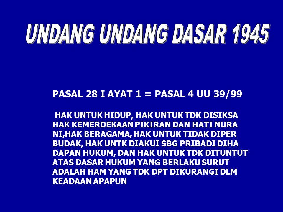 UNDANG UNDANG DASAR 1945 PASAL 28 I AYAT 1 = PASAL 4 UU 39/99