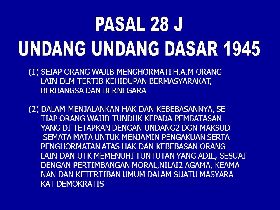 PASAL 28 J UNDANG UNDANG DASAR 1945