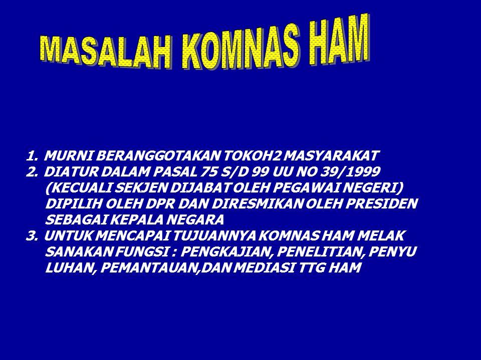 MASALAH KOMNAS HAM MURNI BERANGGOTAKAN TOKOH2 MASYARAKAT