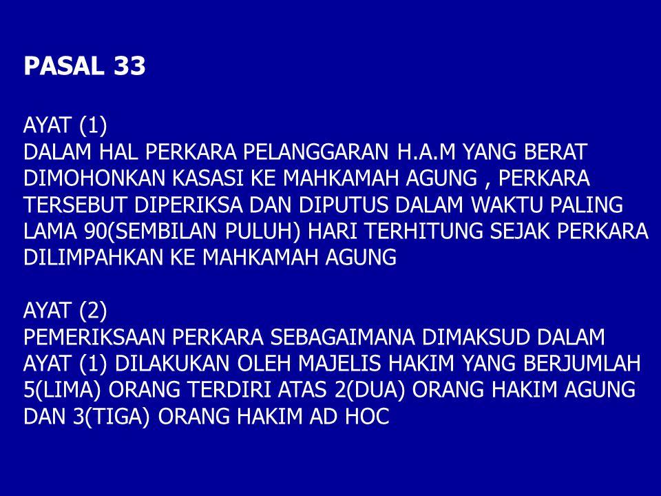 PASAL 33 AYAT (1) DALAM HAL PERKARA PELANGGARAN H.A.M YANG BERAT