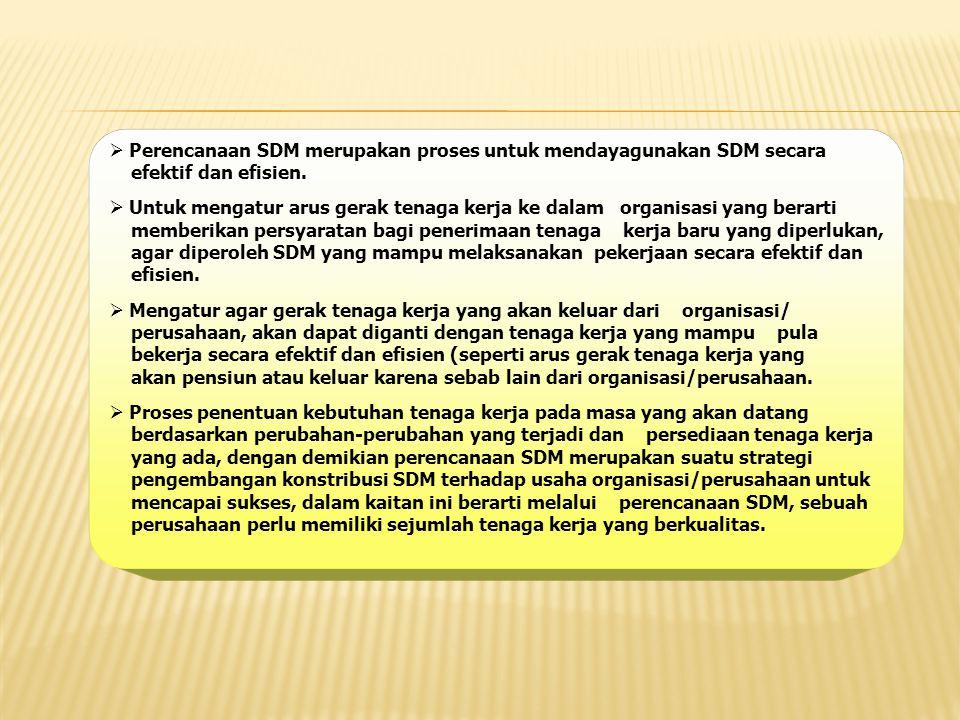 Perencanaan SDM merupakan proses untuk mendayagunakan SDM secara