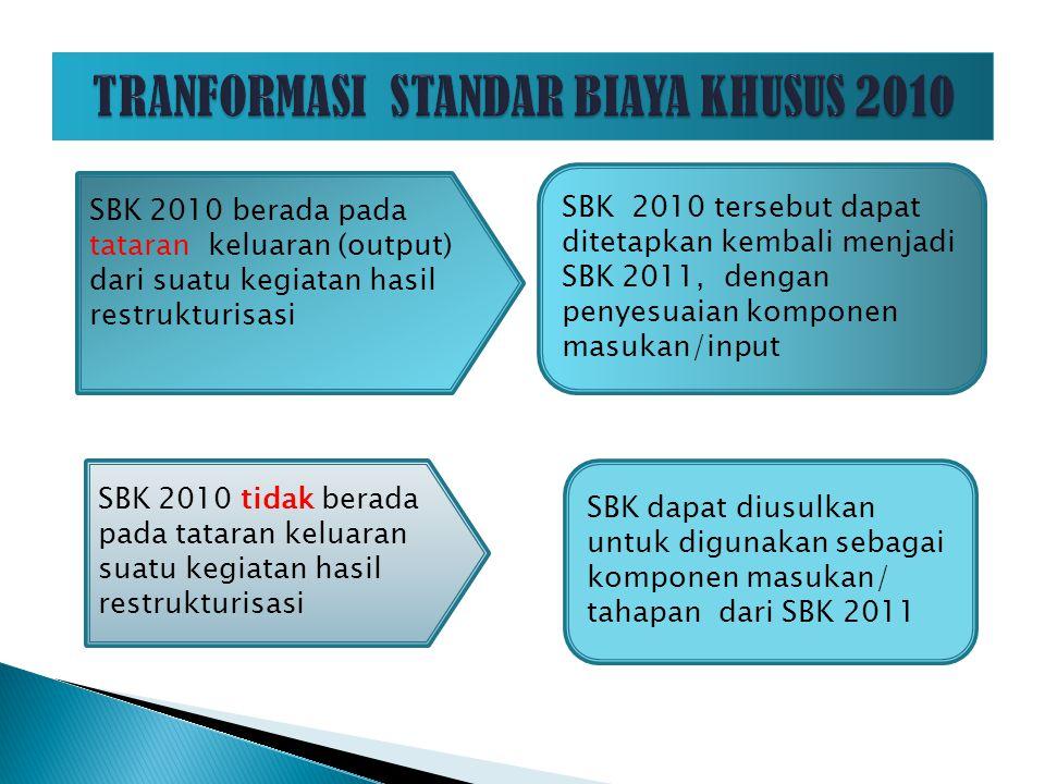 TRANFORMASI STANDAR BIAYA KHUSUS 2010