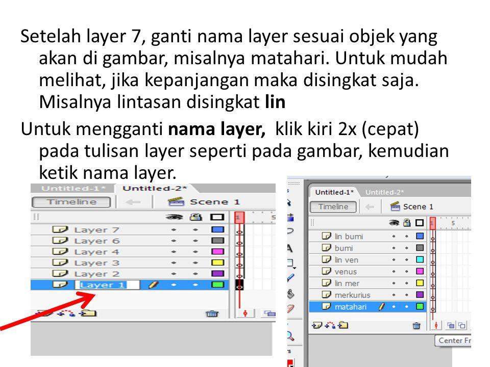 Setelah layer 7, ganti nama layer sesuai objek yang akan di gambar, misalnya matahari.