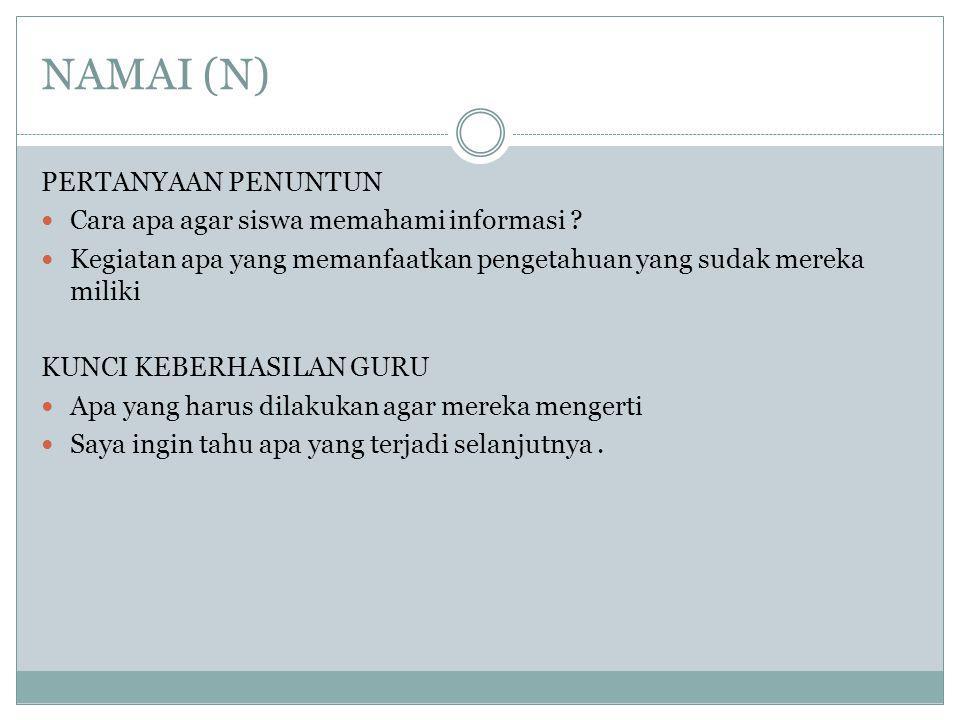 NAMAI (N) PERTANYAAN PENUNTUN Cara apa agar siswa memahami informasi