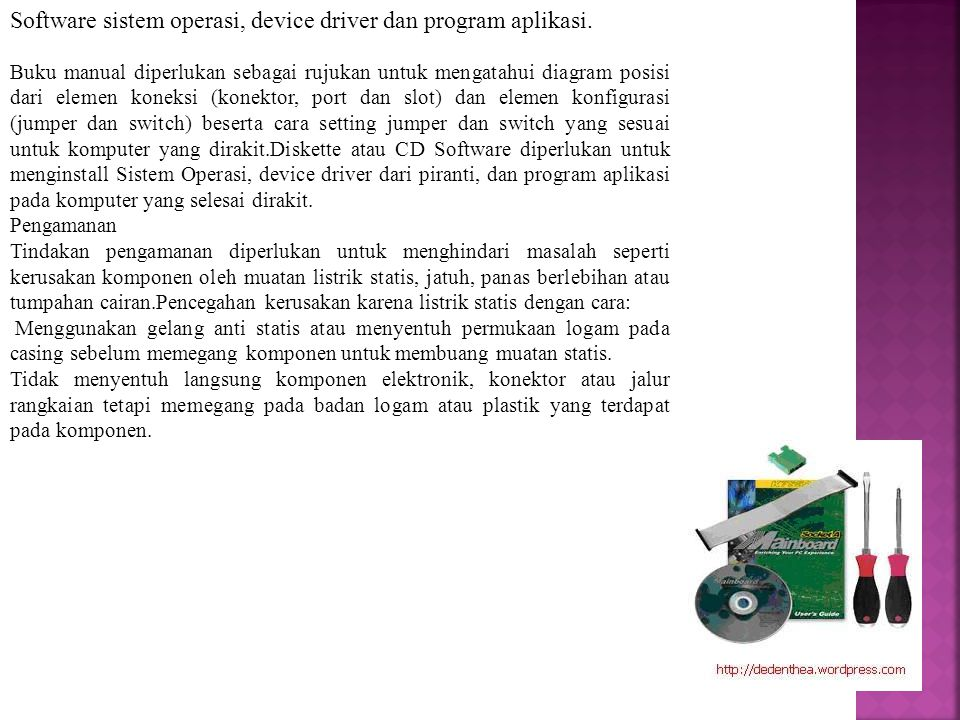 Software sistem operasi, device driver dan program aplikasi.