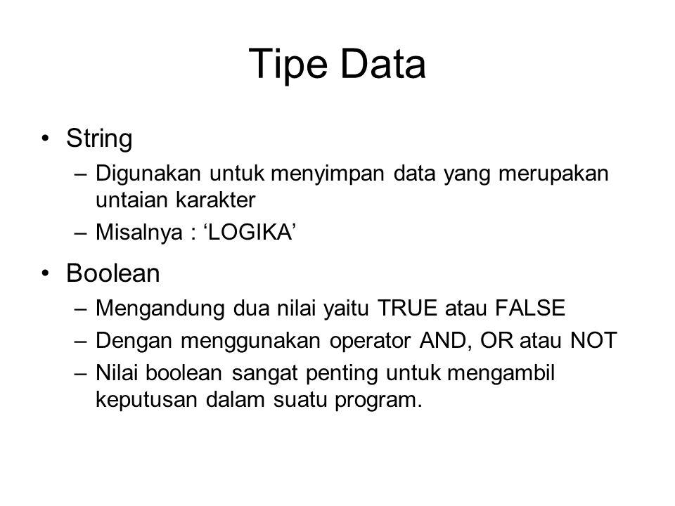 Tipe Data String Boolean