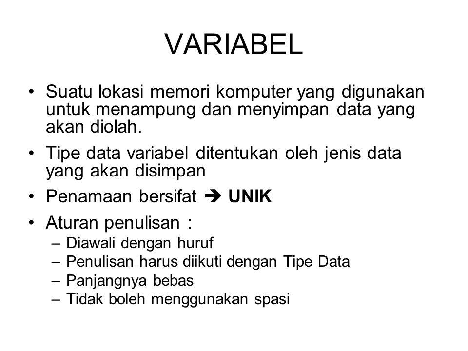 VARIABEL Suatu lokasi memori komputer yang digunakan untuk menampung dan menyimpan data yang akan diolah.