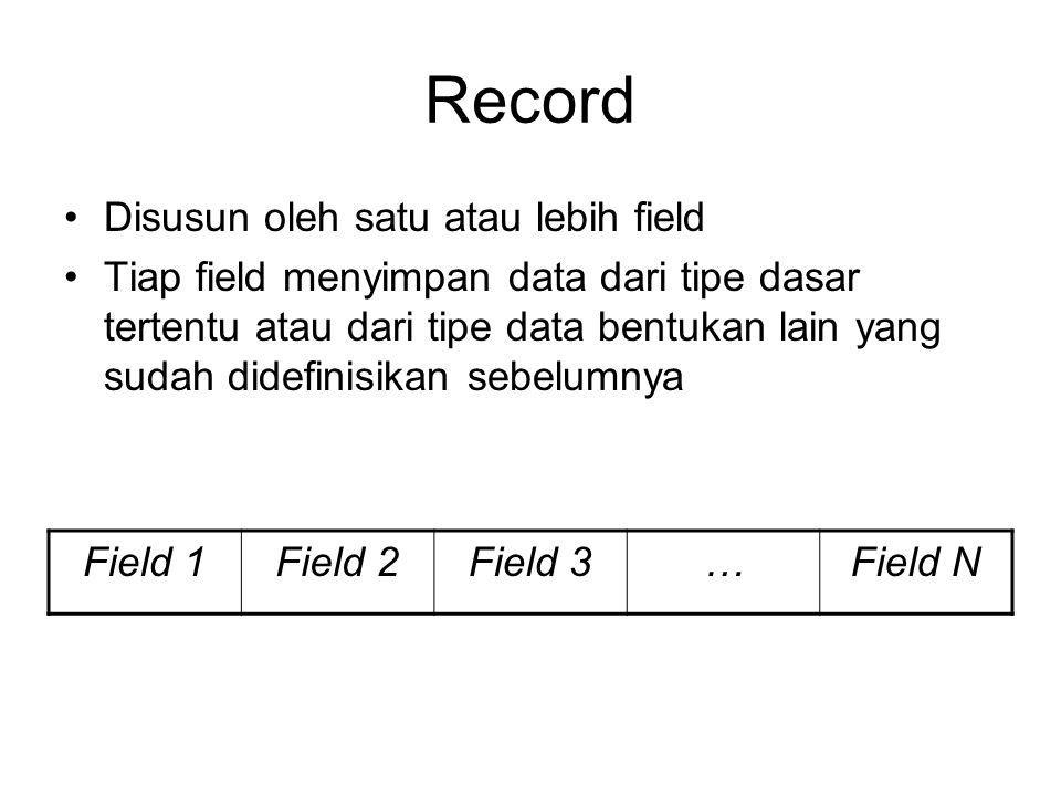 Record Disusun oleh satu atau lebih field