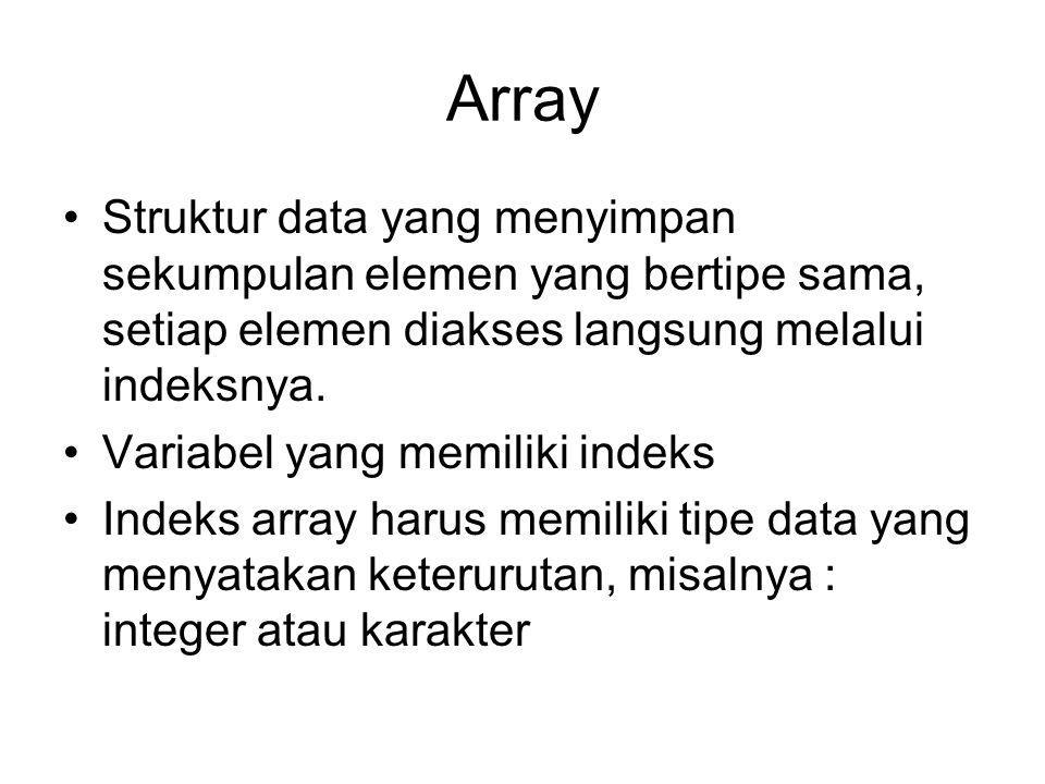 Array Struktur data yang menyimpan sekumpulan elemen yang bertipe sama, setiap elemen diakses langsung melalui indeksnya.