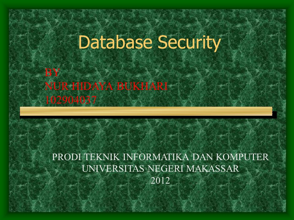Database Security BY NUR HIDAYA BUKHARI 102904037