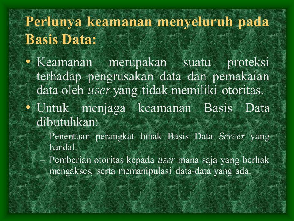 Perlunya keamanan menyeluruh pada Basis Data: