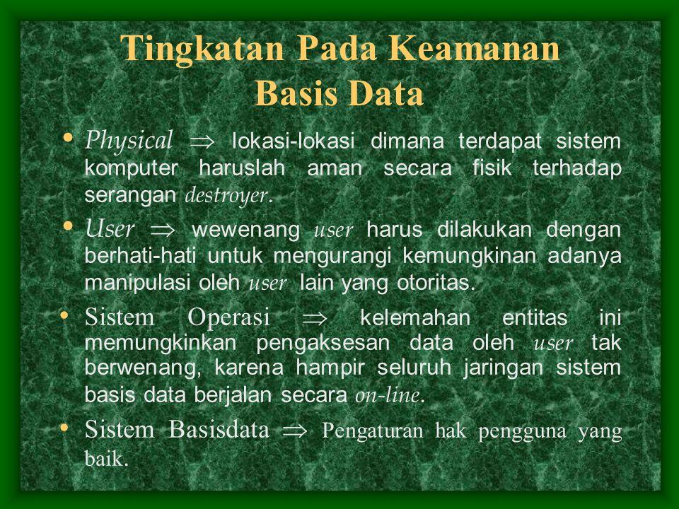 Tingkatan Pada Keamanan Basis Data