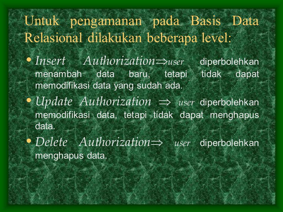 Untuk pengamanan pada Basis Data Relasional dilakukan beberapa level: