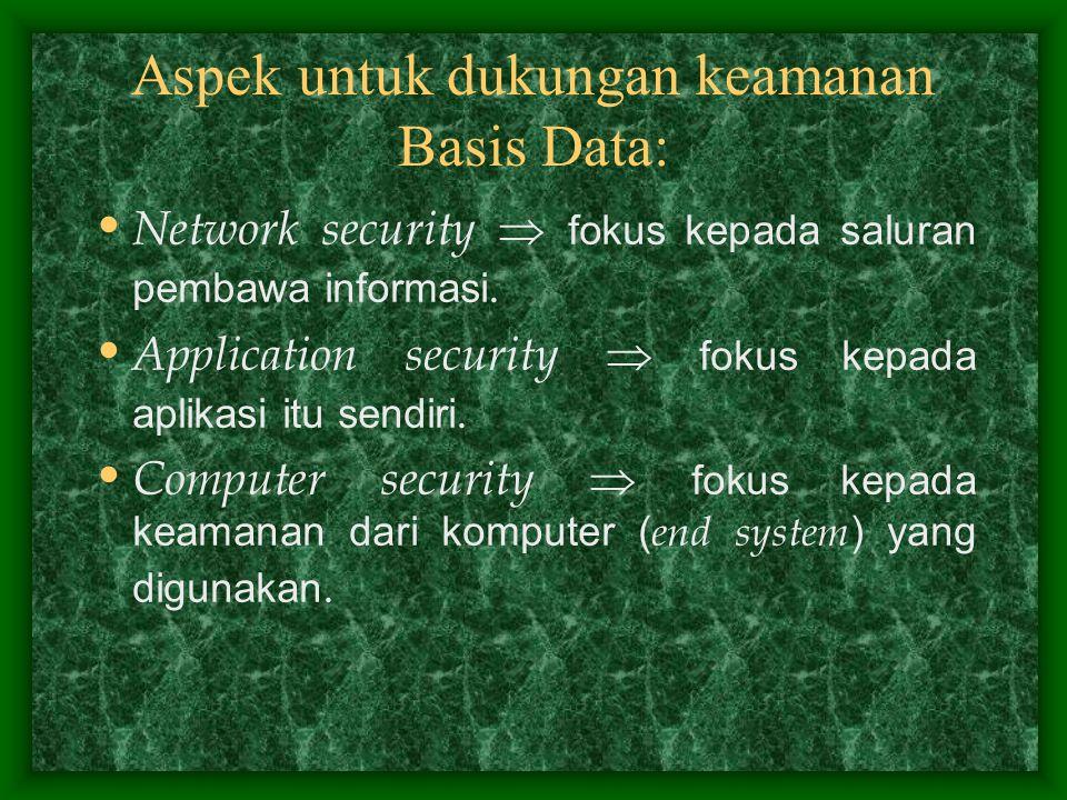 Aspek untuk dukungan keamanan Basis Data: