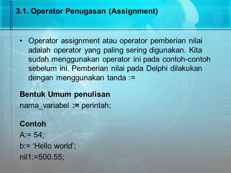 3.1. Operator Penugasan (Assignment)