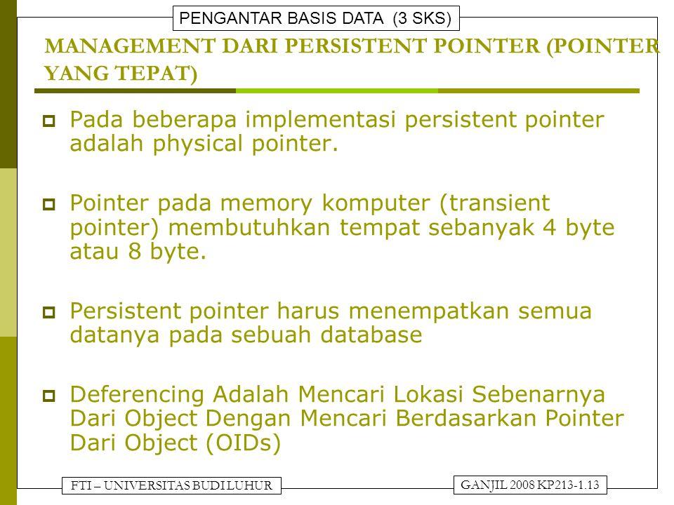 MANAGEMENT DARI PERSISTENT POINTER (POINTER YANG TEPAT)