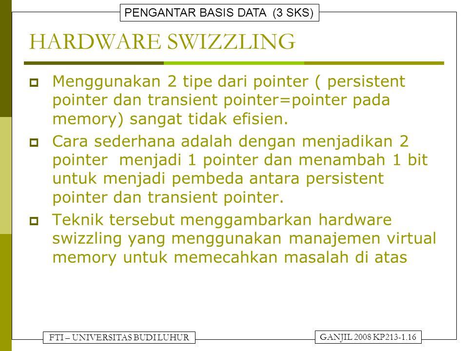 HARDWARE SWIZZLING Menggunakan 2 tipe dari pointer ( persistent pointer dan transient pointer=pointer pada memory) sangat tidak efisien.