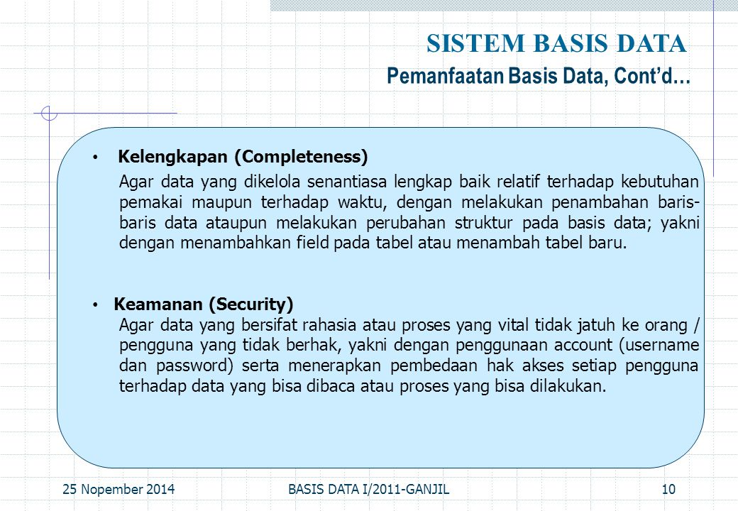 SISTEM BASIS DATA Pemanfaatan Basis Data, Cont'd…