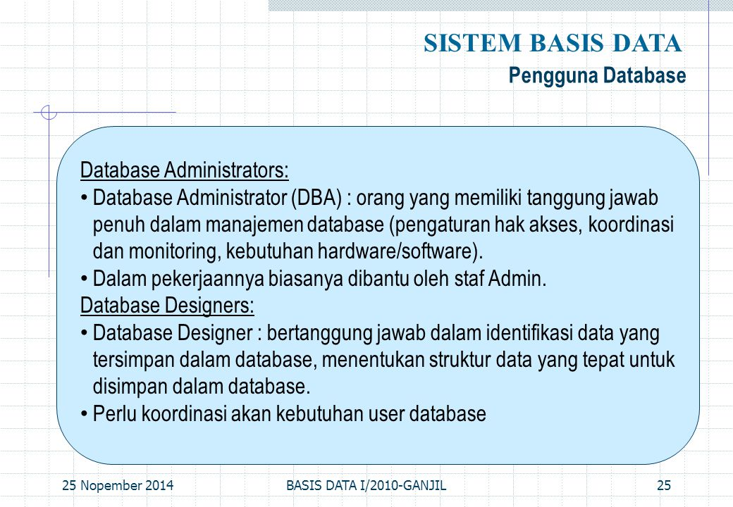 SISTEM BASIS DATA Pengguna Database Database Administrators: