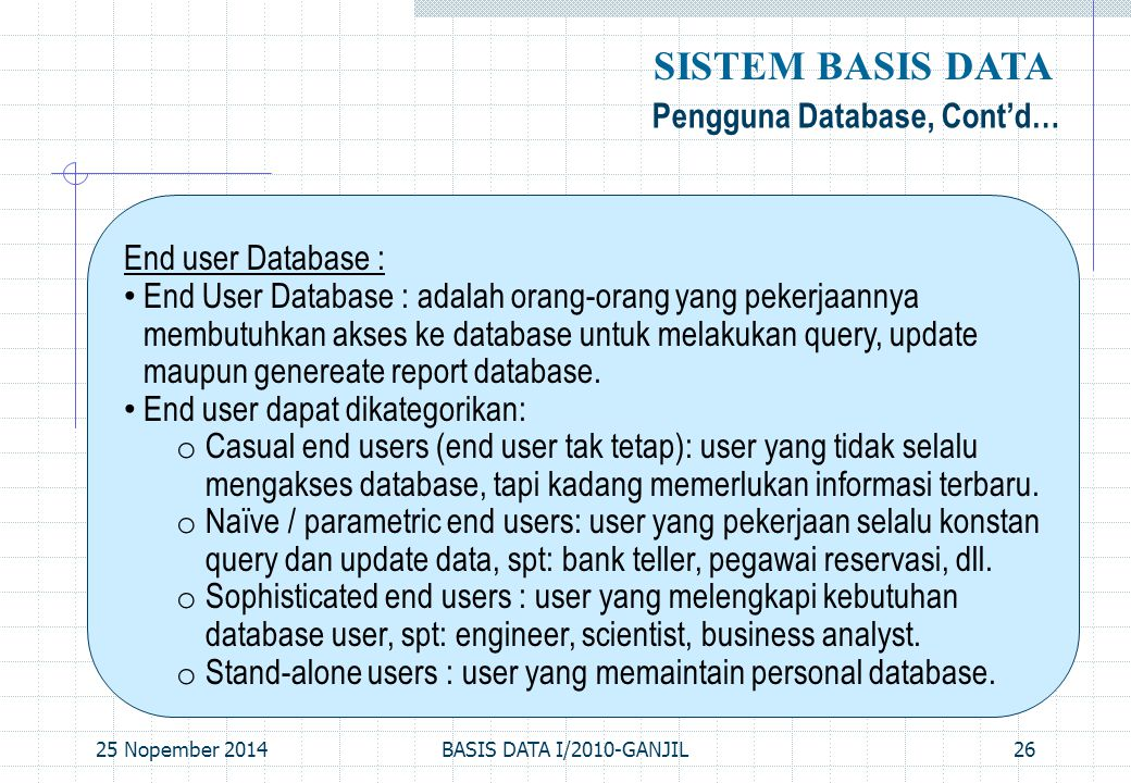 SISTEM BASIS DATA Pengguna Database, Cont'd… End user Database :