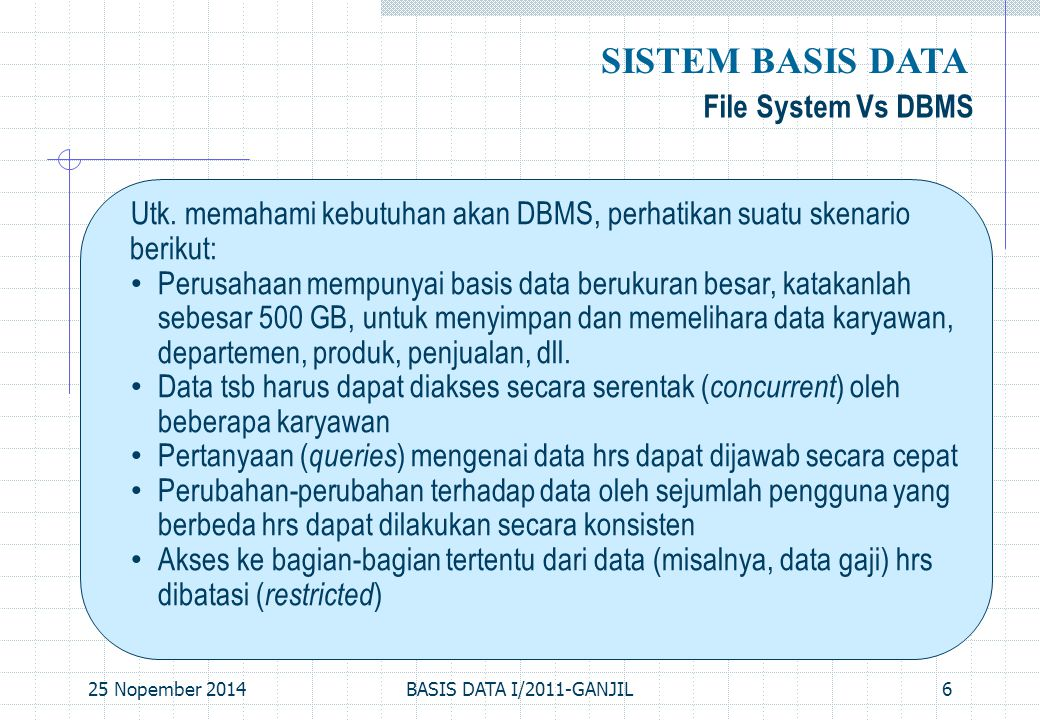 SISTEM BASIS DATA File System Vs DBMS
