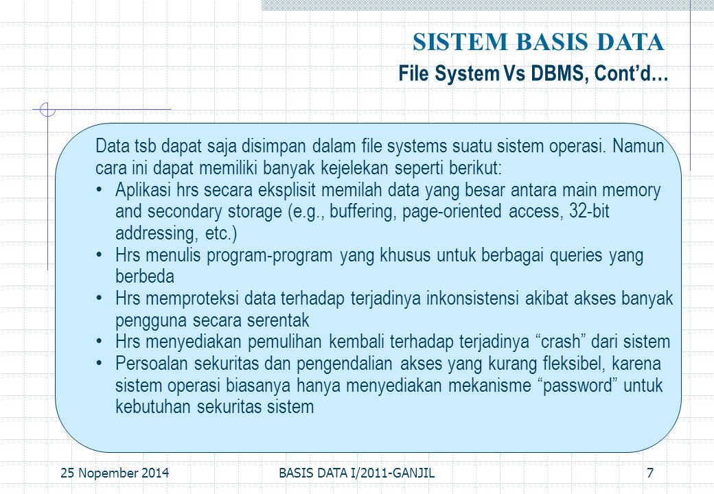 SISTEM BASIS DATA File System Vs DBMS, Cont'd…