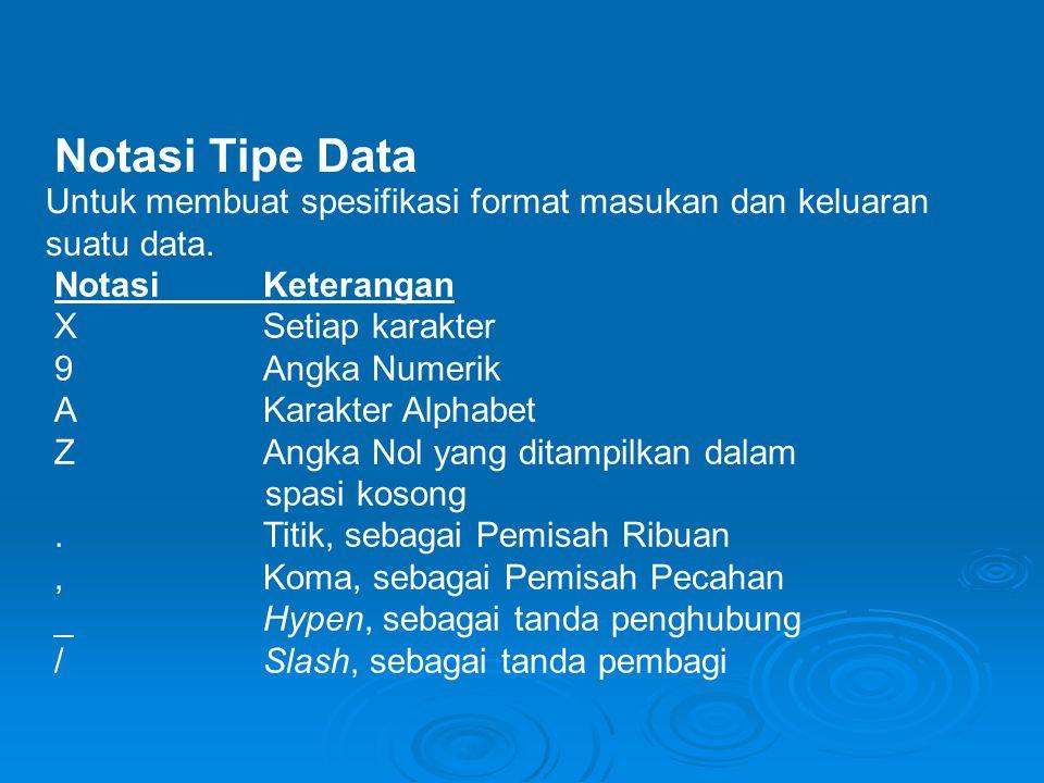 Notasi Tipe Data Untuk membuat spesifikasi format masukan dan keluaran