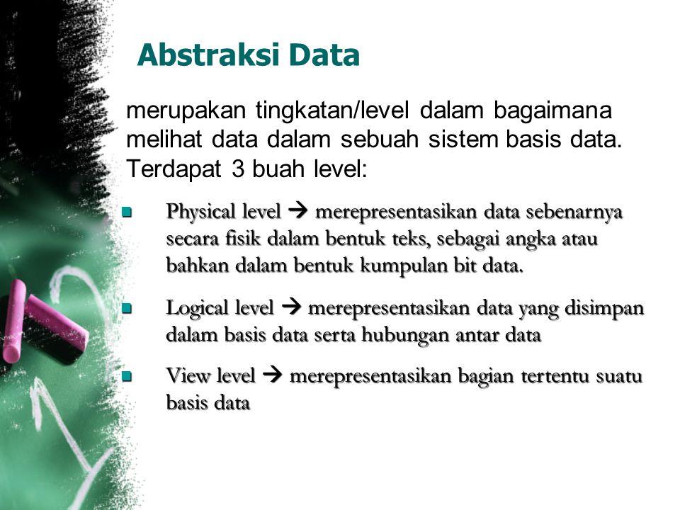 Abstraksi Data merupakan tingkatan/level dalam bagaimana melihat data dalam sebuah sistem basis data. Terdapat 3 buah level: