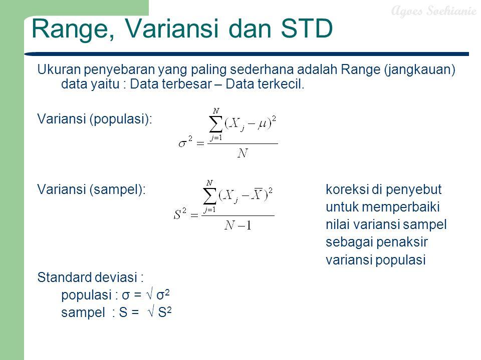 Range, Variansi dan STD Ukuran penyebaran yang paling sederhana adalah Range (jangkauan) data yaitu : Data terbesar – Data terkecil.