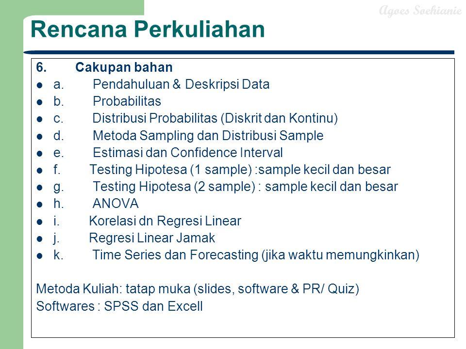 Rencana Perkuliahan 6. Cakupan bahan a. Pendahuluan & Deskripsi Data