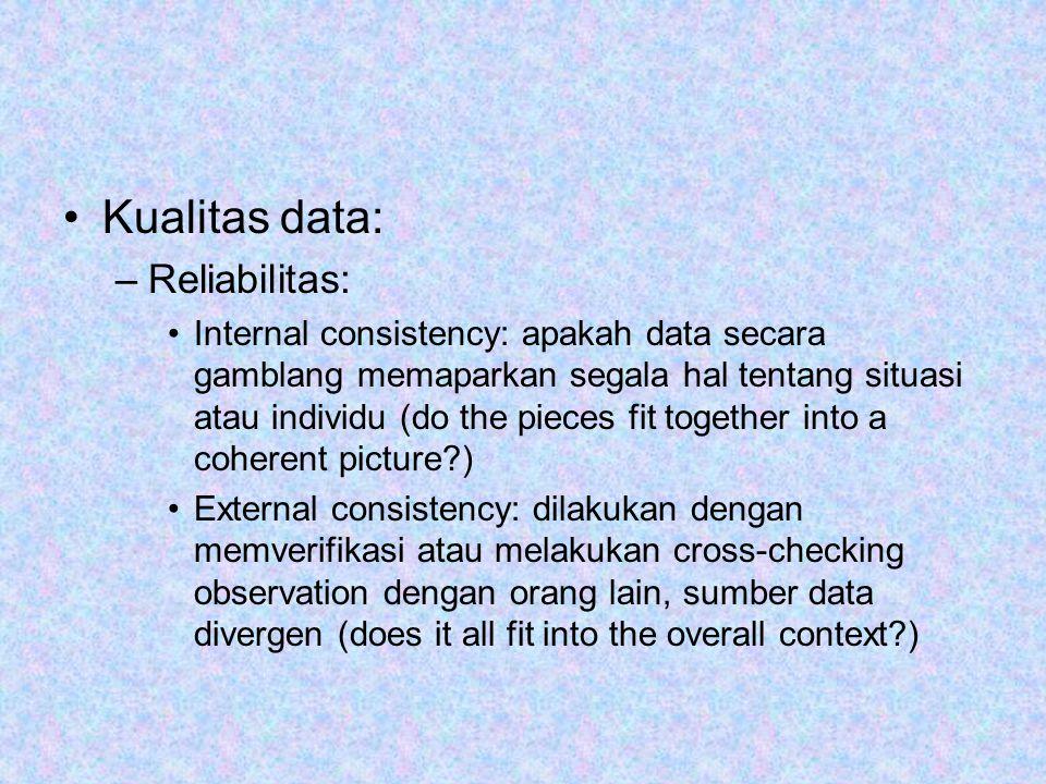 Kualitas data: Reliabilitas: