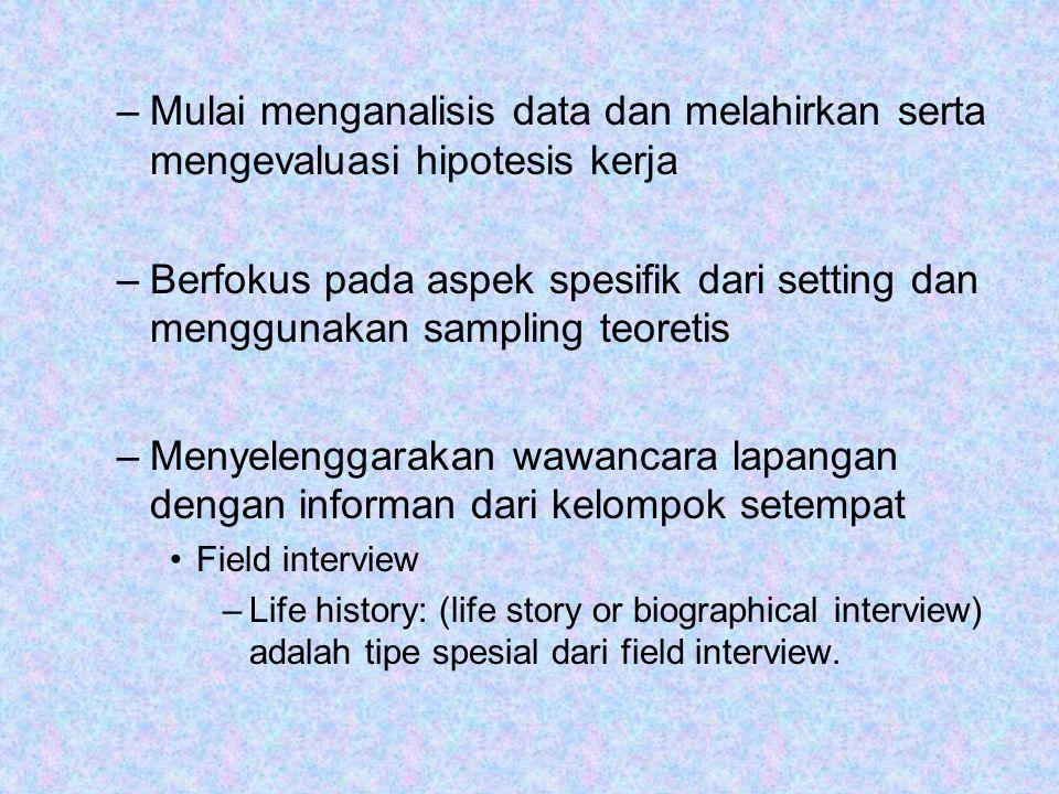 Mulai menganalisis data dan melahirkan serta mengevaluasi hipotesis kerja