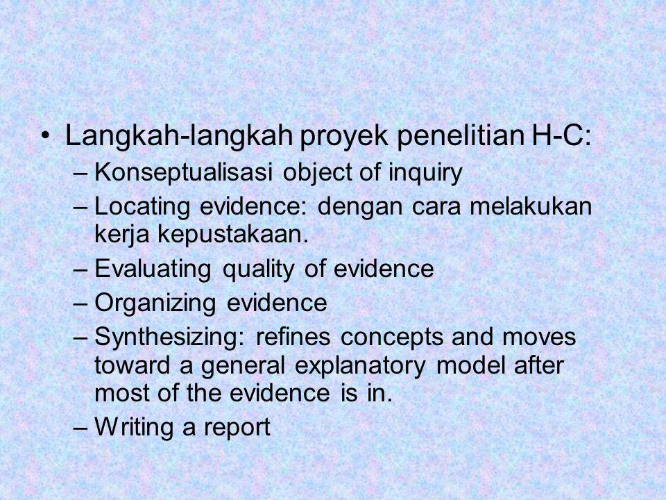 Langkah-langkah proyek penelitian H-C: