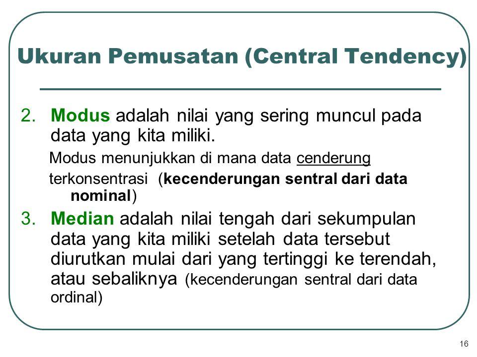 Ukuran Pemusatan (Central Tendency)