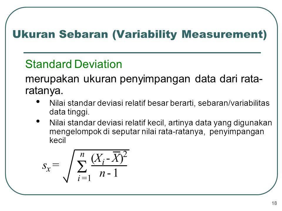 S ( X - X ) s = n - 1 Standard Deviation