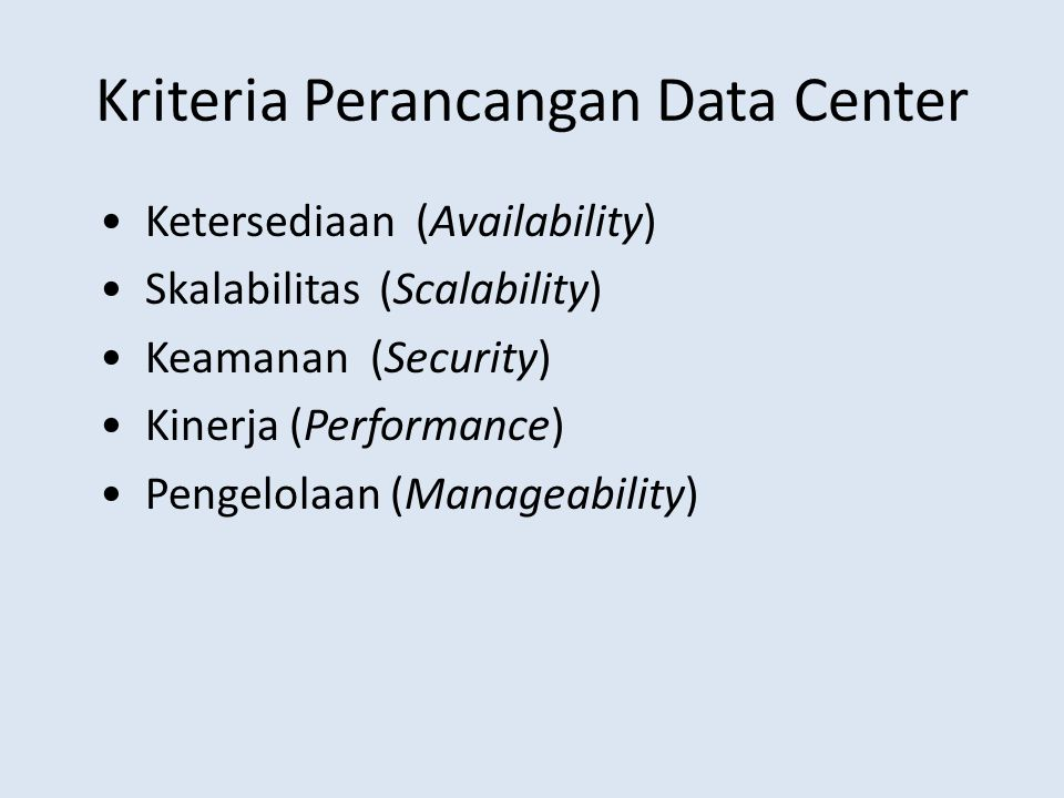 Kriteria Perancangan Data Center
