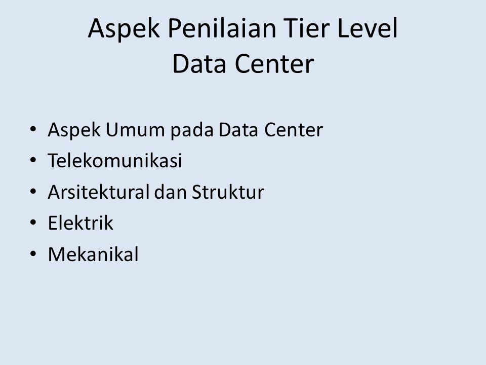Aspek Penilaian Tier Level Data Center