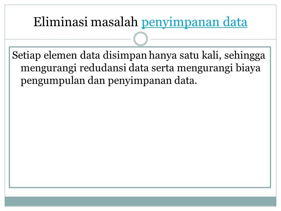 Eliminasi masalah penyimpanan data