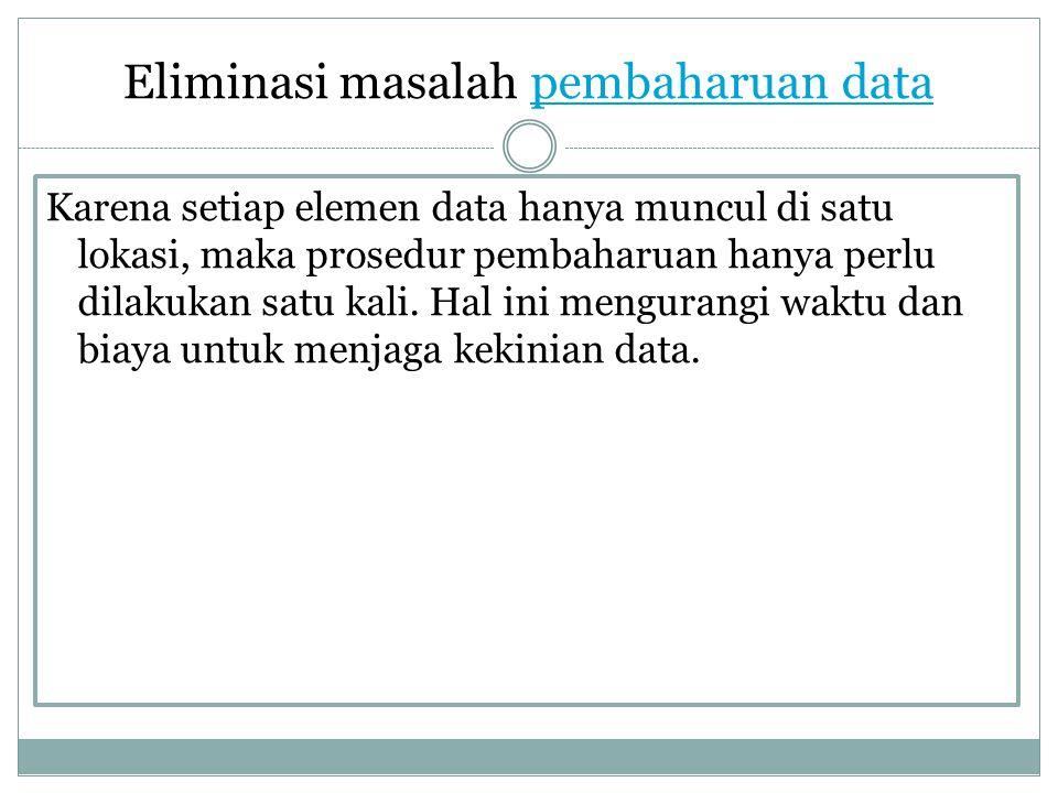 Eliminasi masalah pembaharuan data