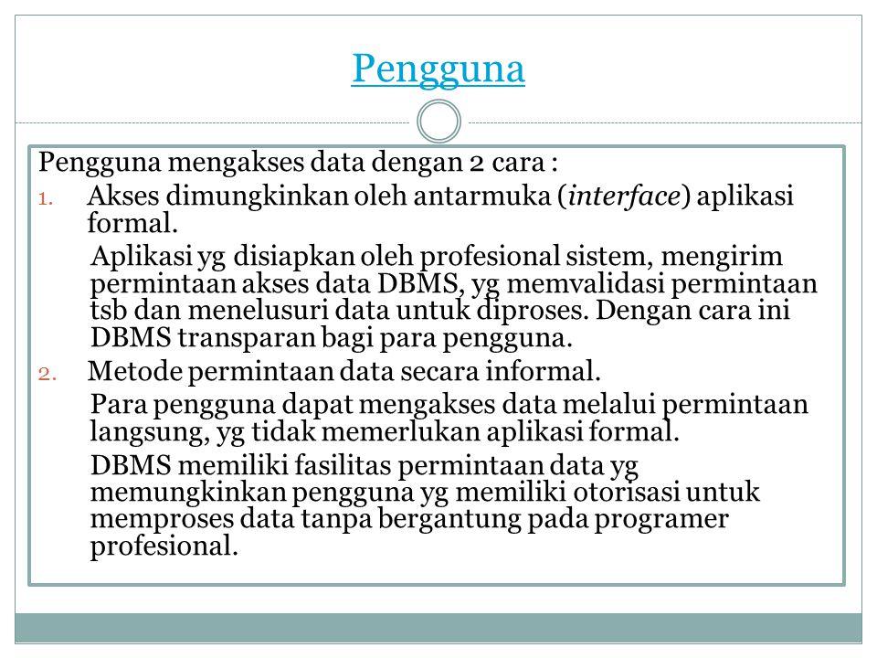 Pengguna Pengguna mengakses data dengan 2 cara :