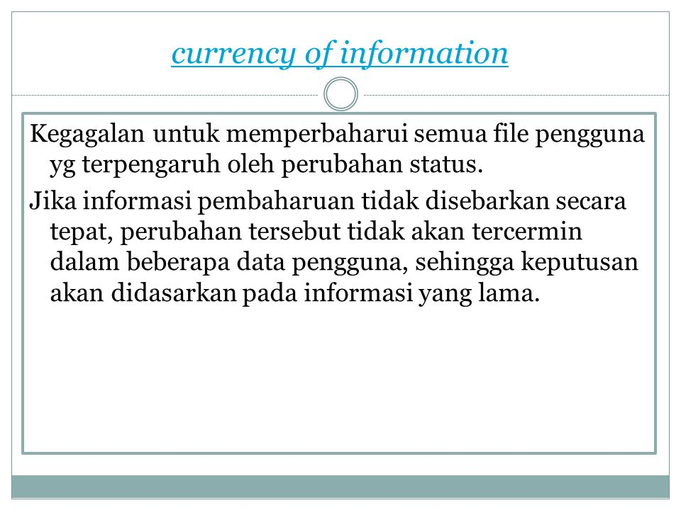 currency of information