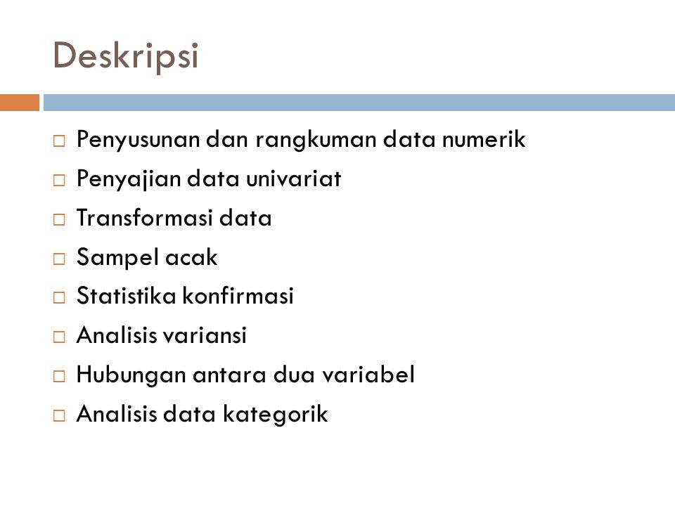 Deskripsi Penyusunan dan rangkuman data numerik