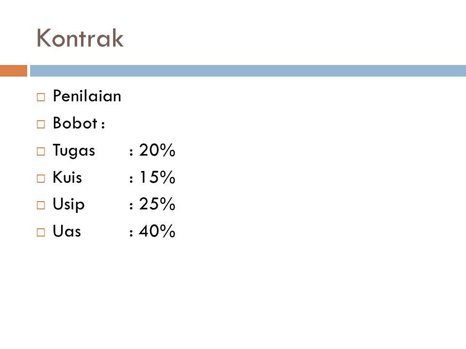 Kontrak Penilaian Bobot : Tugas : 20% Kuis : 15% Usip : 25% Uas : 40%