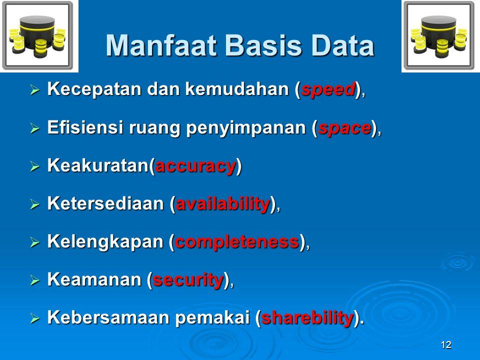 Manfaat Basis Data Kecepatan dan kemudahan (speed),