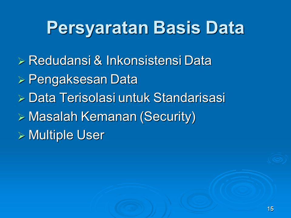Persyaratan Basis Data